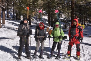 4 snowshoers, Left to right: Raul and Joann Loo, Adi and myself