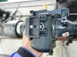 Arca-Swiss compatible (Acratech) tripod quick-release plate attached