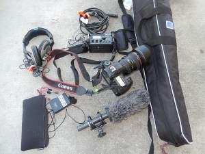 Canon 5D3_dual lav shotgun audio_monopod