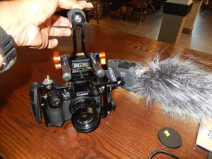 GH4 w 17mm f/1.7 Lumix-Summicron AF lens, Zoom H6 DAR and hypercardioid shotgun microphone; JAG 35 tripod baseplate, CF rods and top handle