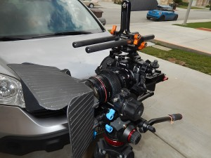 full cinema rig setup on tripod