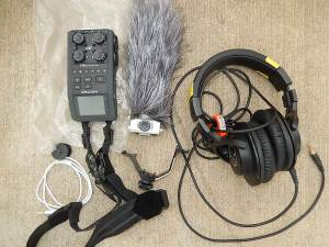 audio field gear centered around Zoom H6 digital audio recorder
