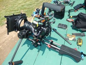 One version of shoulder rig using JAG35V2 handles