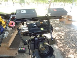 """above-camera setup for DR-70D using 12"""" rail on hot shoe, and 2 wireless Audio Technica mic receivers"""