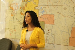 Melissa Wichnell discussing Visalia, CA emergency planning for water distribution