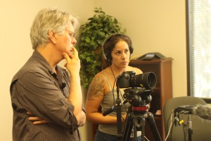 James Garrett monitoring video and Melinda Steffen checking audio at Visalia interview
