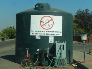 Nonpotable water tank near the fire station in East Porterville, CA